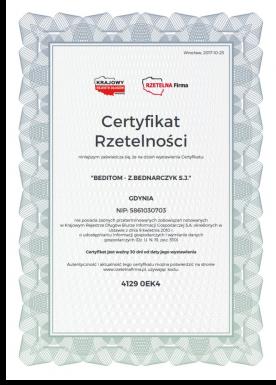 Certyfikat rzetelności